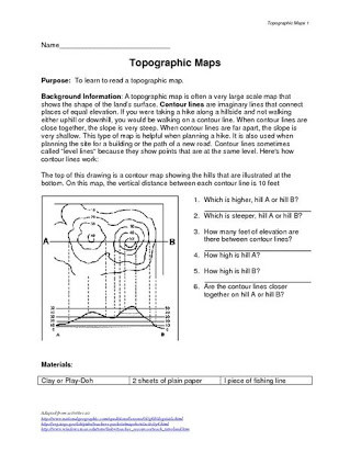 Topographic Map Reading Worksheet Answers Free Elevation Map Worksheets