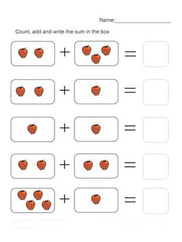 Touch Math Addition Worksheet Free Printable Math Worksheets for Preschool and Kindergarten
