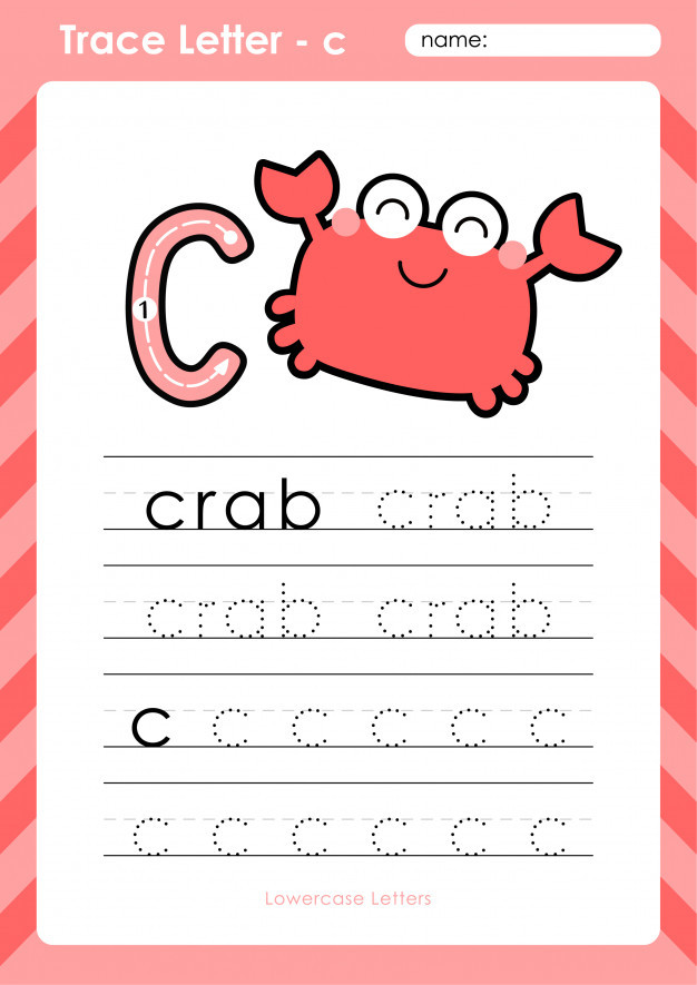 Tracing Letters Worksheet Az C Crab Alphabet A Z Tracing Letters Worksheet Exercises