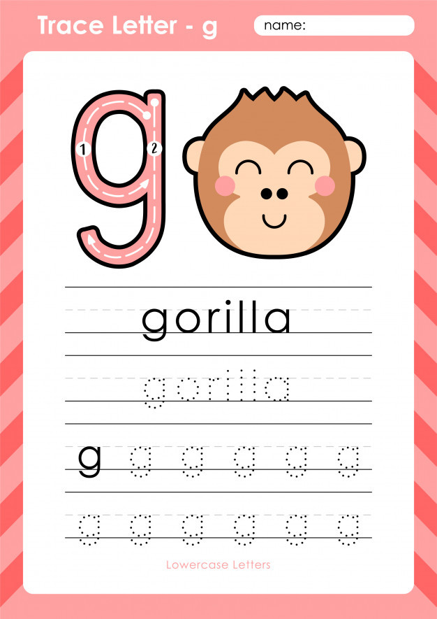 Tracing Letters Worksheet Az G Gorilla Alphabet A Z Tracing Letters Worksheet
