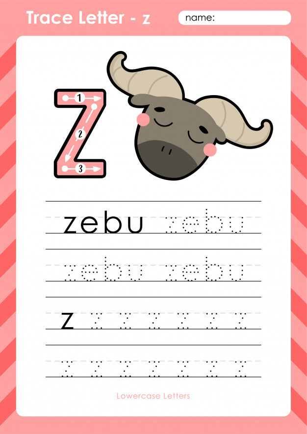 Tracing Letters Worksheet Az Z Zebu Alphabet A Z Tracing Letters Worksheet Exercises