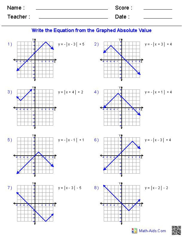 Transformations Of Functions Worksheet Answers 27 Absolute Value Functions and Graphs Answers