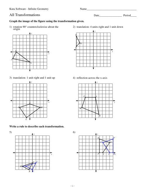 Transformations Of Graphs Worksheet 12 All Transformations Kuta software