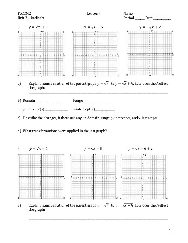 Transformations Of Graphs Worksheet Parent Functions and Transformations Worksheet