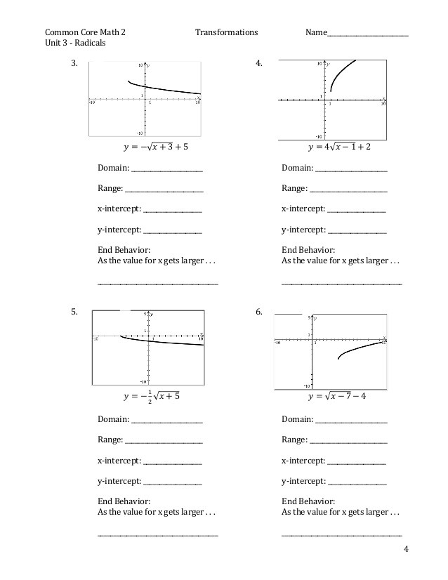 Transformations Of Graphs Worksheet Practice for Square Root Graph & Transformations