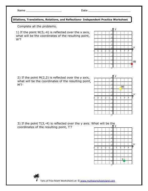 Translation Rotation Reflection Worksheet Independent Practice Math Worksheets Land