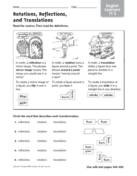 Translations Reflections and Rotations Worksheet Rotations Reflections and Translations English Learners