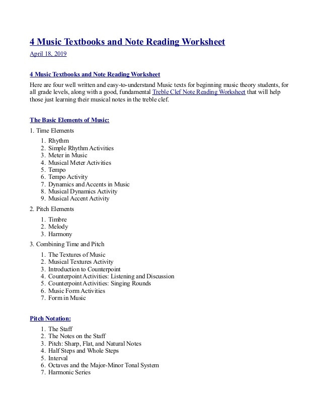 Treble Clef Note Worksheet 4 Music Textbooks and Note Reading Worksheet