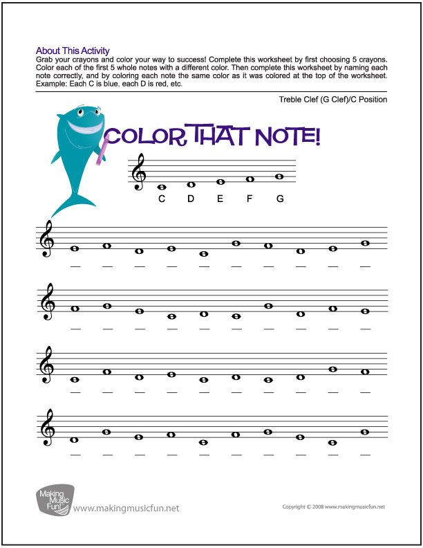 Treble Clef Note Worksheet Color that Note Free Note Name Worksheet Treble Clef C