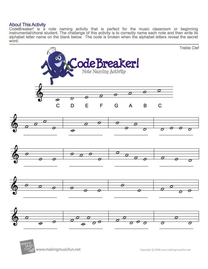 Treble Clef Note Worksheet Treble Clef Fun Note Reading with Music theory Piano