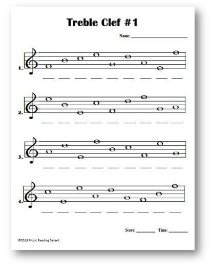 Treble Clef Note Worksheet Treble Clef Lines and Spaces Name the Notes On the Music