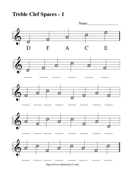 Treble Clef Note Worksheet Treble Clef Spaces 1 Lesson Plan for 1st 12th Grade