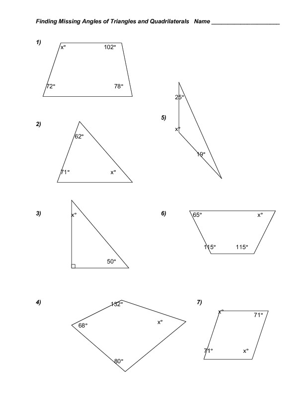 Triangle Interior Angles Worksheet Answers Finding Missing Angles Of Triangles and Quadrilaterals
