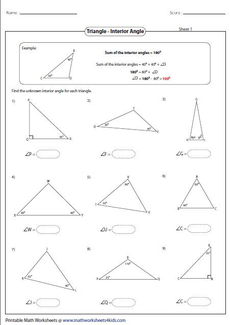 Triangle Interior Angles Worksheet Answers Interior Angles