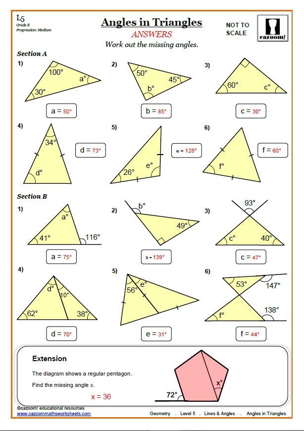 Triangle Interior Angles Worksheet Answers Lines and Angles Worksheets