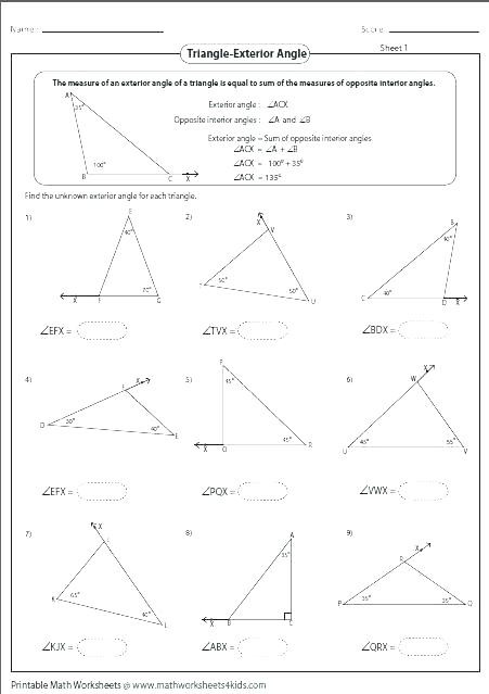 Triangle Interior Angles Worksheet Answers Measuring Interior Angles Of A Triangle Worksheet لم يسبق له