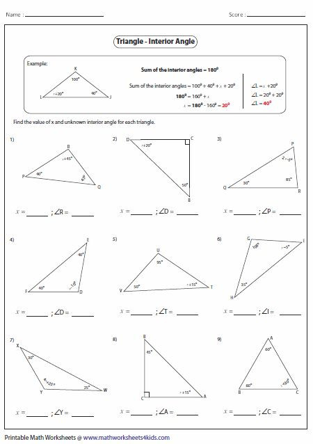 Triangle Interior Angles Worksheet Answers Missing Interior Angles