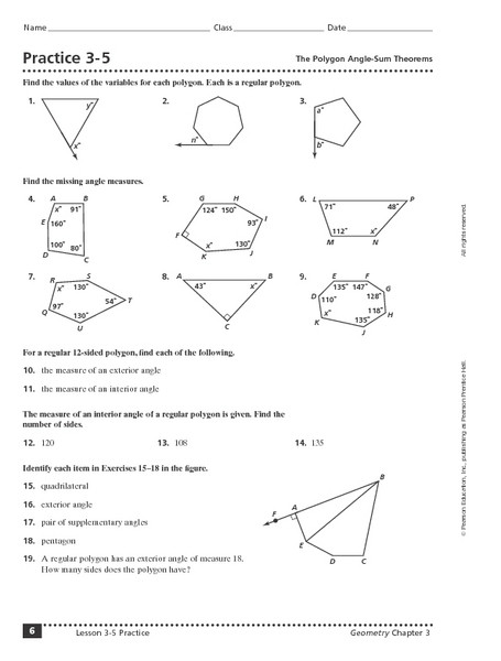 Triangle Interior Angles Worksheet Answers Practice 3 5 the Polygon Angle Sum theorem Worksheet for 9th
