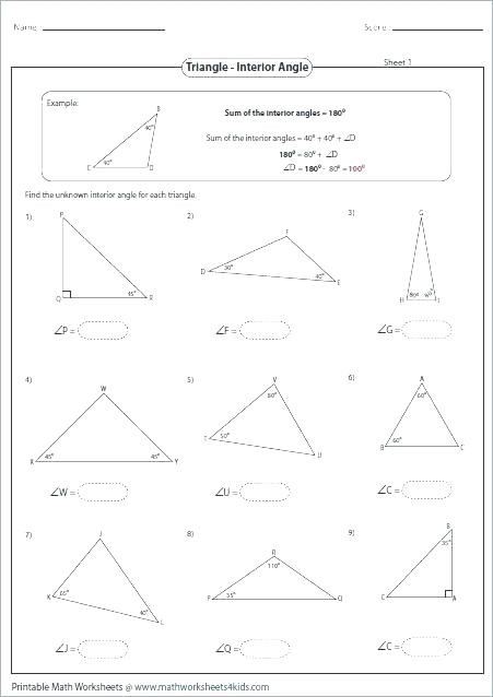 Triangle Interior Angles Worksheet Answers Sum Of Interior Angles Of A Triangle Worksheet لم يسبق له