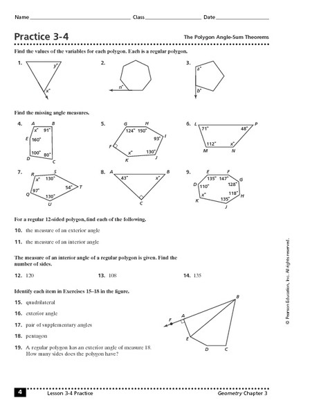 Triangle Interior Angles Worksheet Answers Triangle Exterior Angle Sum theorem Worksheet Practice 3 4