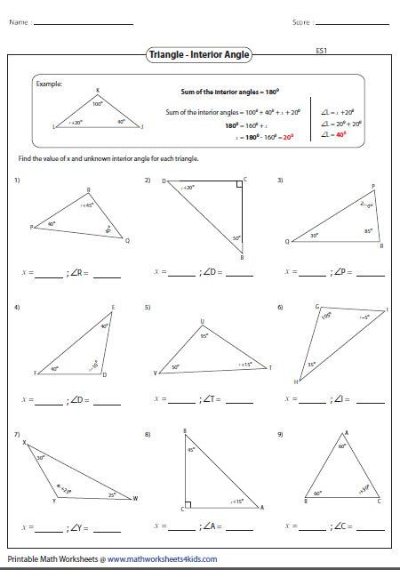 Triangle Interior Angles Worksheet Answers Triangle Inequality theorem Worksheet Homeschooldressage