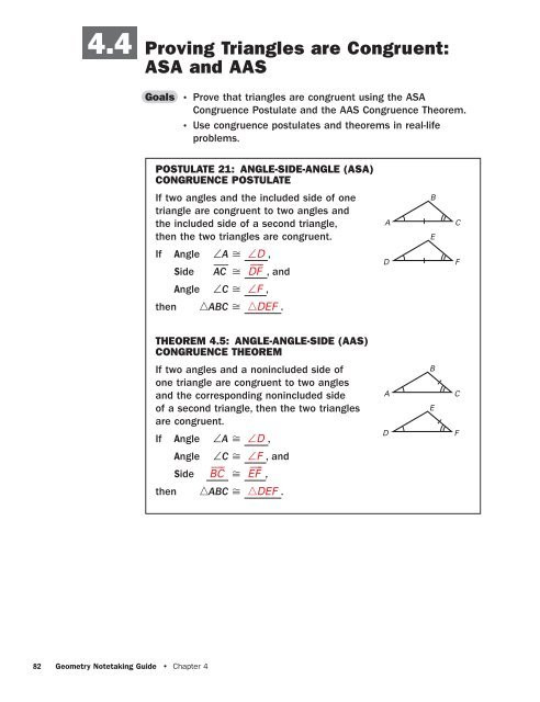Triangle Proofs Worksheet Answers 4 4 Proving Triangles are Congruent asa & Aas