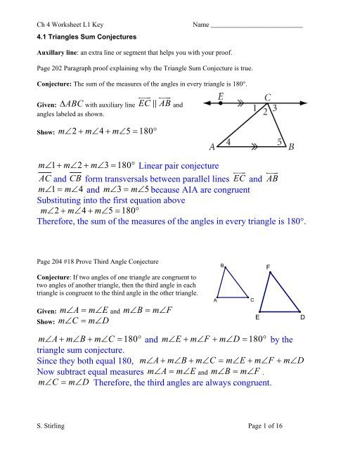 Triangle Proofs Worksheet Answers Ch 4 Worksheet Key