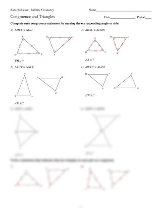 Triangle Proofs Worksheet Answers Kuta software Congruent Figures