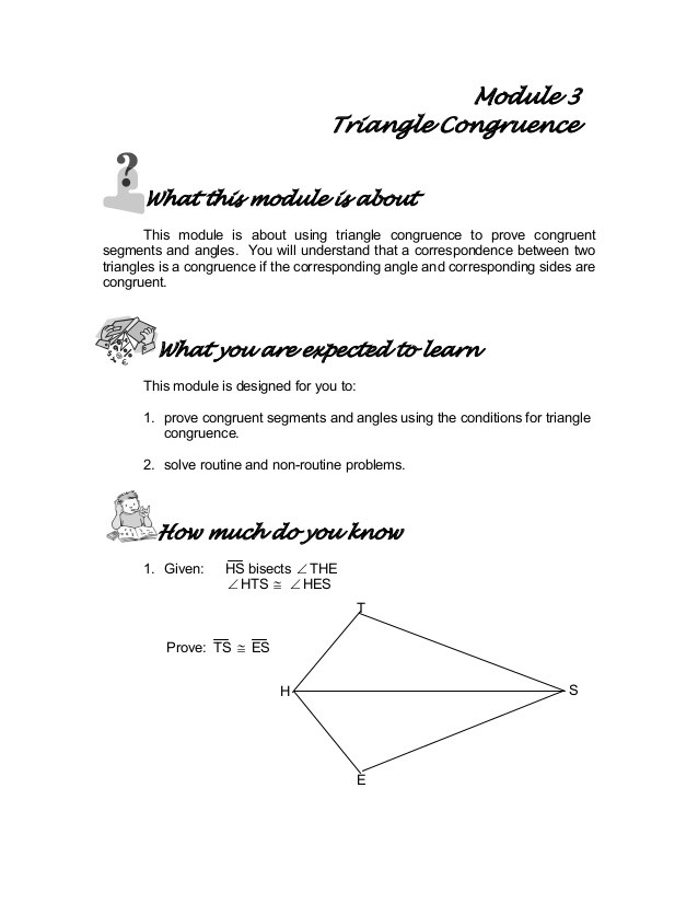 Triangle Proofs Worksheet Answers Module 3 Triangle Congruence