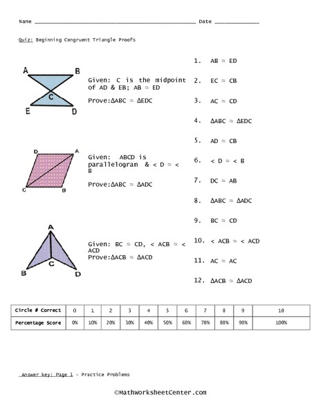 Triangle Proofs Worksheet Answers Quiz Beginning Congruent Triangle Proofs Worksheet for 10th