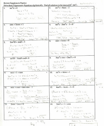 Trig Identities Worksheet with Answers Free Trig Worksheets