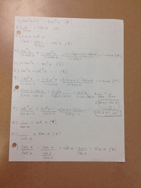 Trig Identities Worksheet with Answers Pfeil Jason Trigonometry Daily assignments and Resources