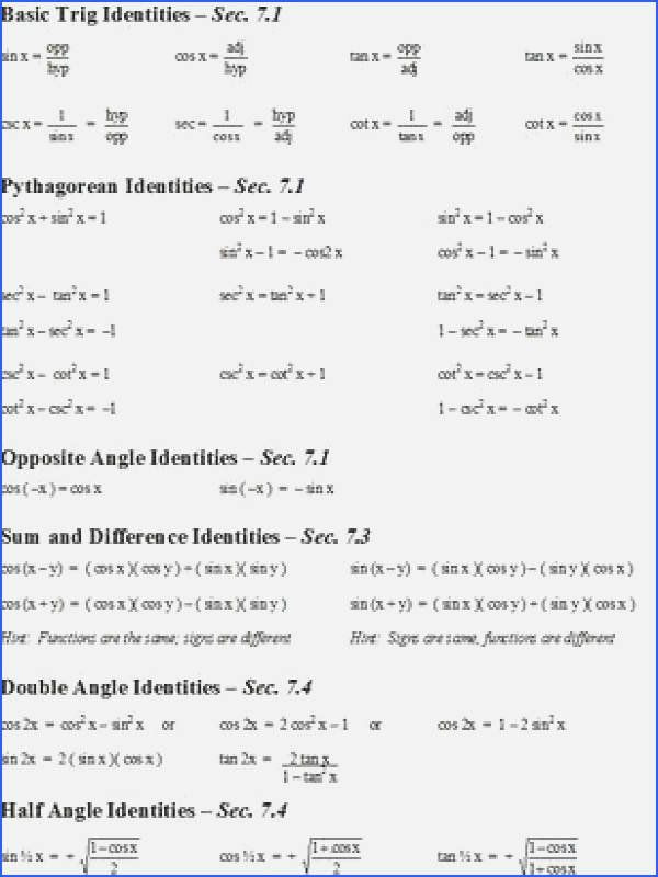 Trig Identities Worksheet with Answers Pin On Math
