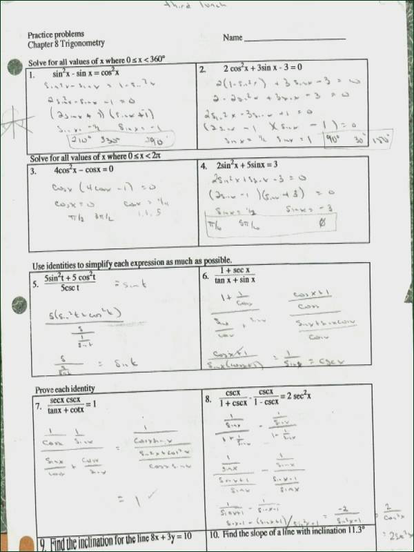 Trig Identities Worksheet with Answers Proving Trigonometric Identities Worksheet with Answers