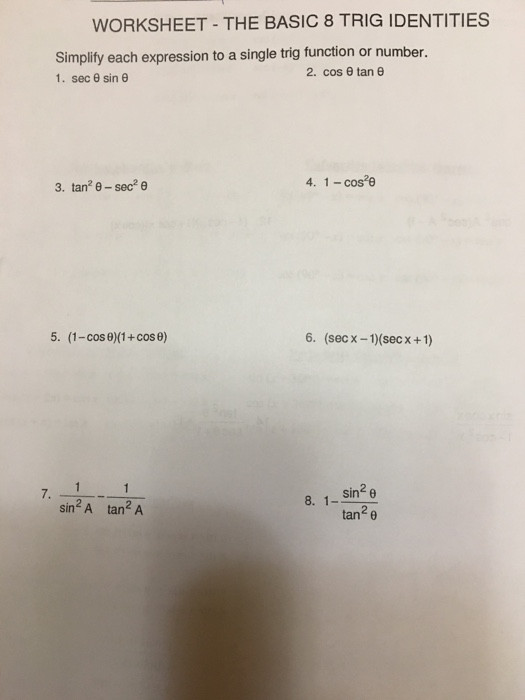Trig Identities Worksheet with Answers solved Worksheet the Basic 8 Trig Identities Simplity E