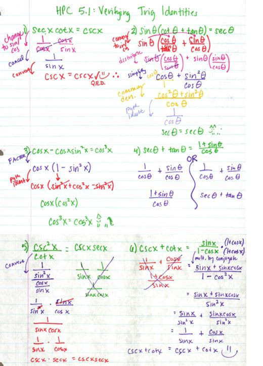 Trig Identities Worksheet with Answers Trig – Insert Clever Math Pun Here
