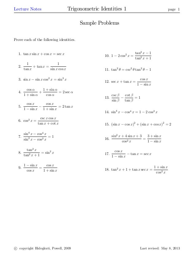 Trig Identities Worksheet with Answers Trigidentities1