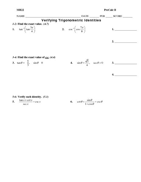 Trig Identities Worksheet with Answers Verifying Trigonometric Identities Graphic organizer for