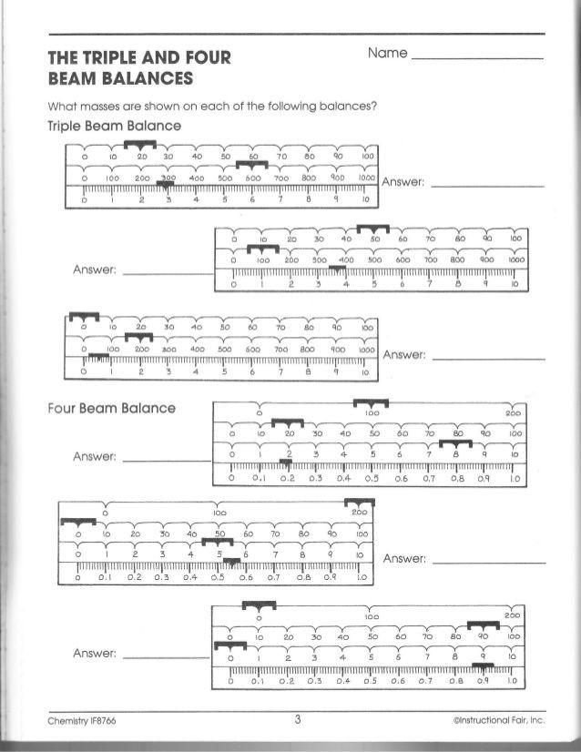 Triple Beam Balance Worksheet Name the Triple and Fourbeam Balanceswhat Masses