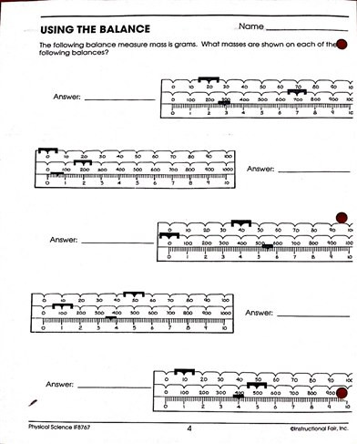 Triple Beam Balance Worksheet Practice Measurement Triple Beam Balance Class and