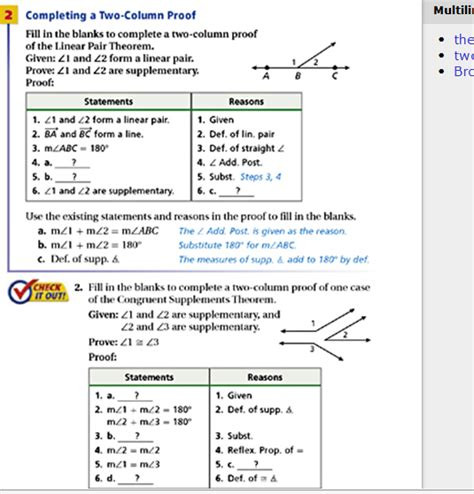 Two Column Proof Worksheet Chapter 3 Proving Statements In Geometry Jmap Google Free