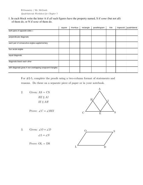 Two Column Proof Worksheet Exercises and Practice Proofs for Chapter 7