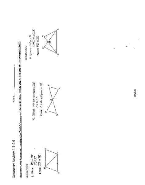 Two Column Proof Worksheet Geometry Review Two Column Proofs Worksheet for 9th 11th