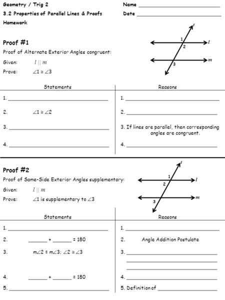 Two Column Proof Worksheet Lesson 2 4 Congruent Supplements and Plements Objective