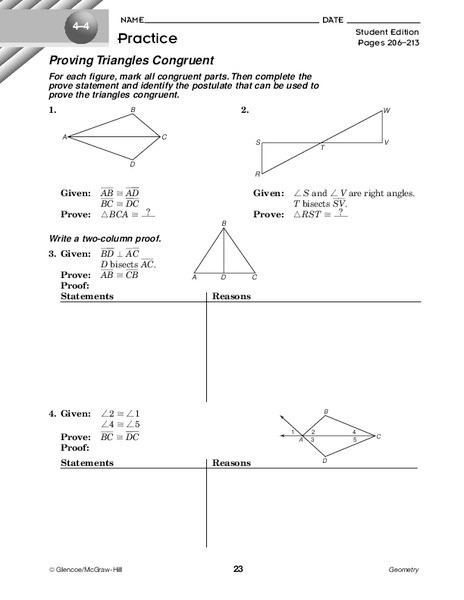 Two Column Proof Worksheet Proving Triangles Congruent Worksheet for 10th Grade