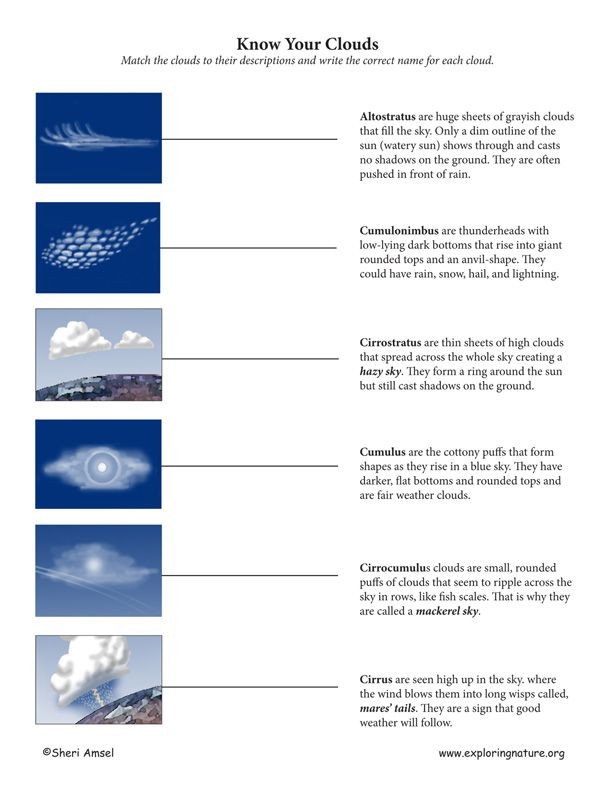 Types Of Clouds Worksheet Types Of Clouds Match C1 W23