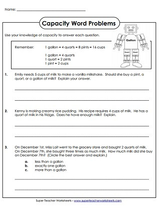 Unit Conversion Word Problems Worksheet Capacity Worksheets Gallons Quarts Pints and Cups