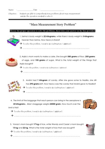 Unit Conversion Word Problems Worksheet Mass Word Problems