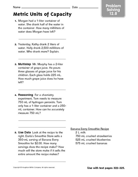 Unit Conversion Word Problems Worksheet Metric Units Of Capacity Problem solving 12 8 Worksheet