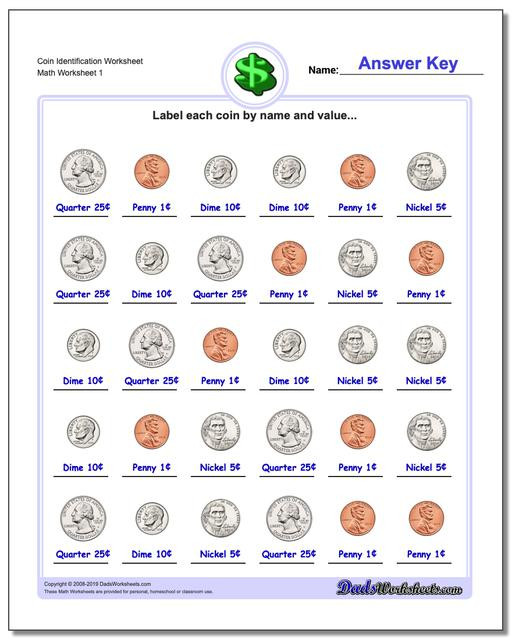 Values Of Coins Worksheet Coin Identification